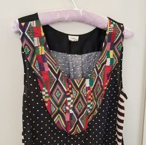Anthropologie Tiny embroidered tribal tank top L